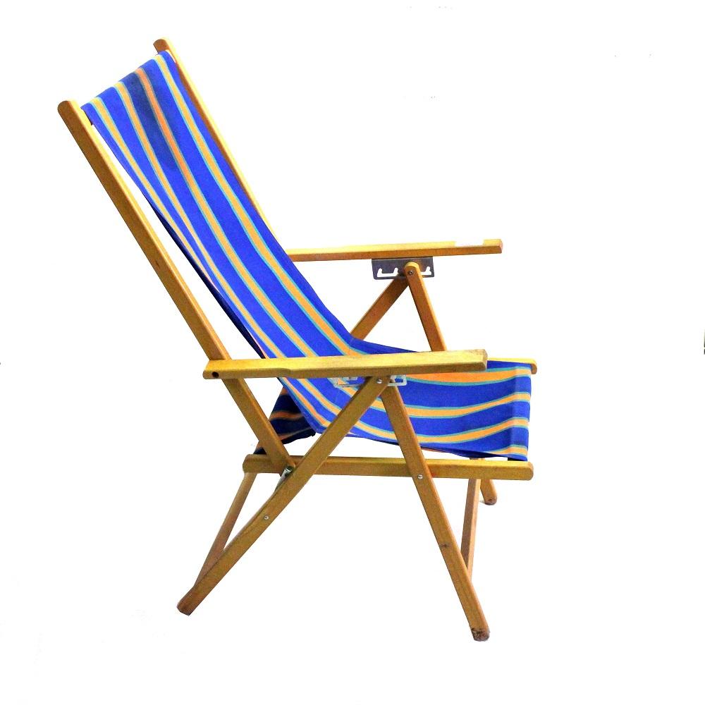 Sedie A Sdraio In Legno.Sedia Sdraio Legno E Tela Arancio E Blu Anni 60 Sostenibile