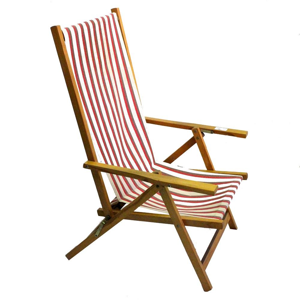 Sedie A Sdraio In Legno.Sedia Sdraio Legno E Tela Bianco E Rosso Anni 60 Sostenibile
