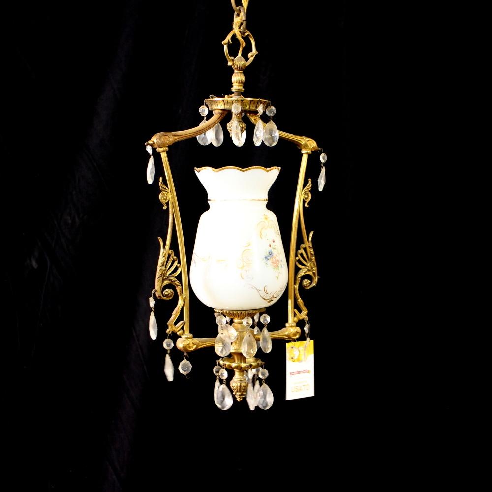 Campane Vetro Per Lampadari.Lampadario Lanterna Ottone Con Campana Vetro Bianco Dipinto