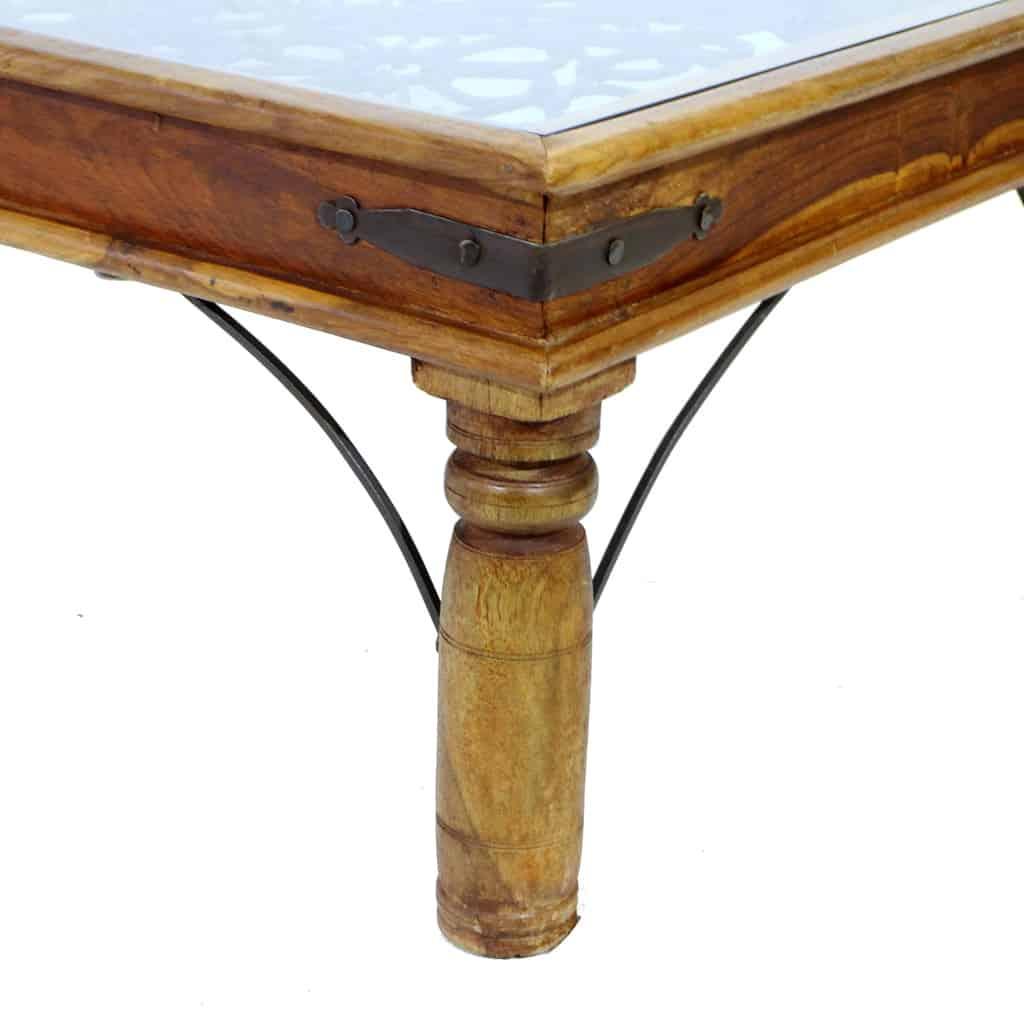 Tavolino In Legno Etnico.Tavolino Etnico Legno Con Inserto In Ferro Battuto E Piano Vetro