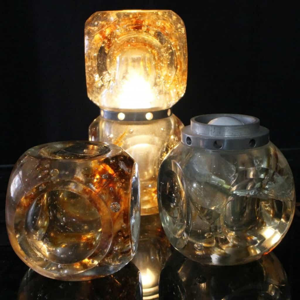Coppia Lampade Da Tavolo Comodino Whisky Con Ghiaccio Cubi Space Age Design Vintage Anni 60 70 Sostenibile