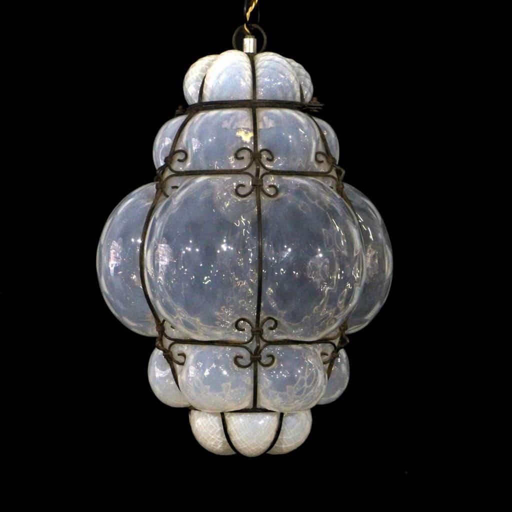 Lampada LUCERNA VENEZIANA in vetro Soffiato con gabietta in ferro TRASPARENTE