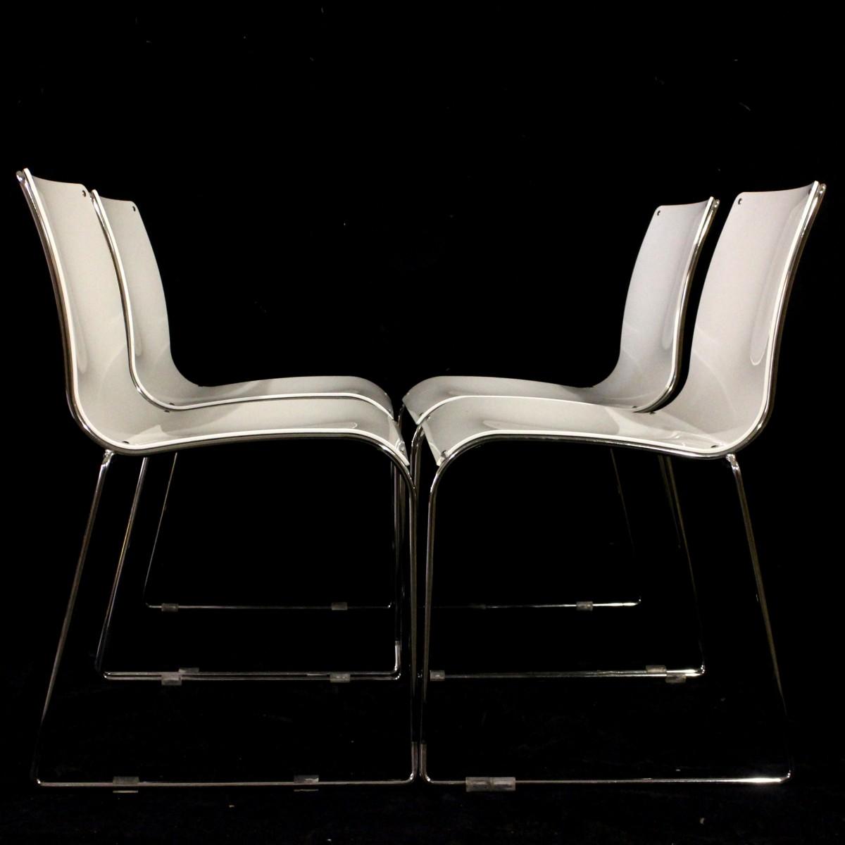 Sedie Acciaio E Plastica.4 Sedie Bianche Moderne Impilabili Acciaio E Plastica Laccata